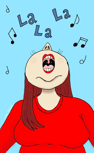 Cartoon of Ana singing. ©Ana Tirolese