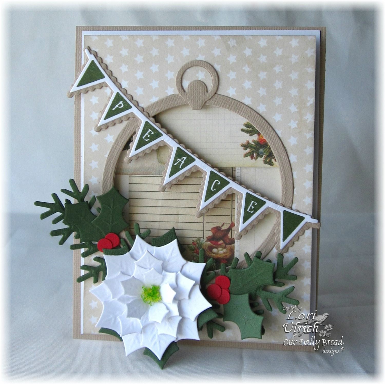 Stamps - Christmas Pennant Row, Our Daily Bread Designs Matting Circles Die, ODBD Custom Circle Ornaments Die, ODBD Custom Peaceful Poinsettias Die, ODBD Custom Fancy Foliage Die, ODBD Custom Pennant Row Die