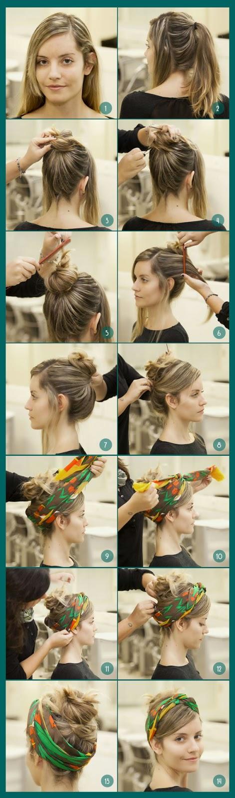 Tutorial penteados com lenços