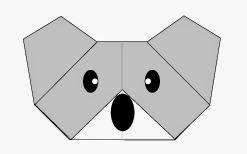 Bước 10: Vẽ mắt, vẽ mũi để hoàn thành cách xếp mặt con gấu túi koala bằng giấy origami.
