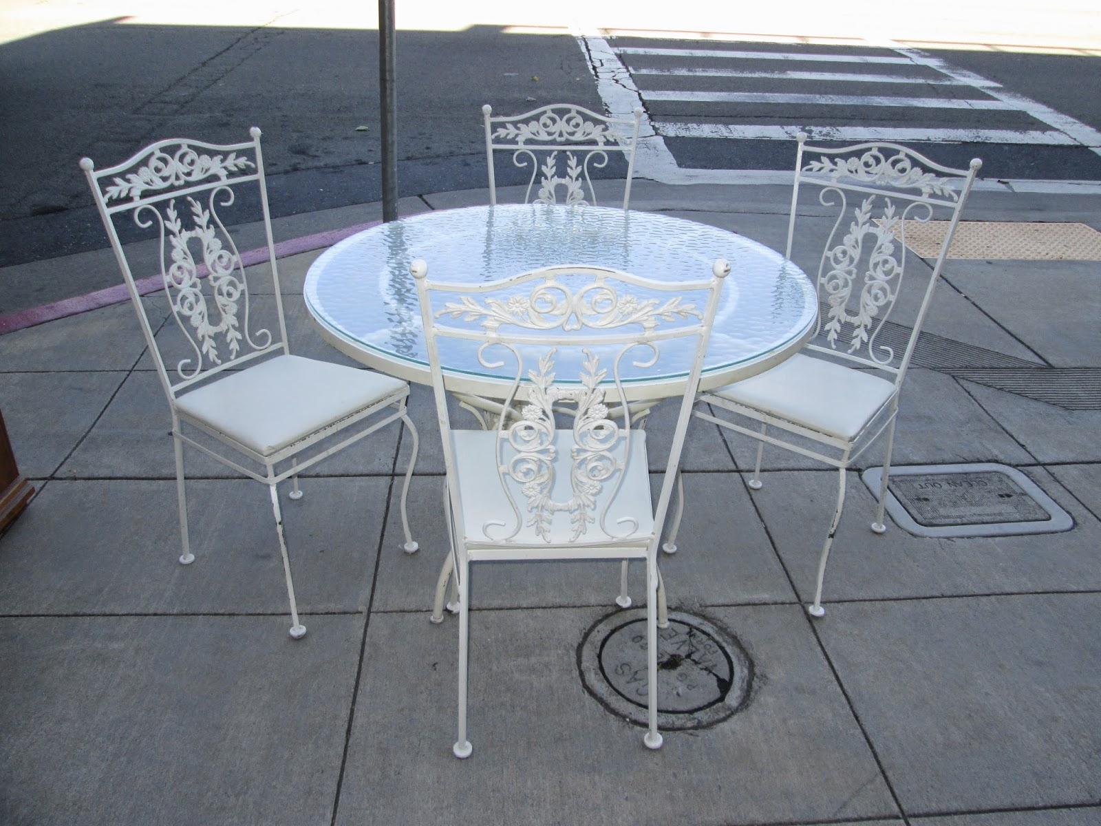 Uhuru Furniture Collectibles Sold Wrought Iron Glass Top Patio Set With 4 Chairs 165