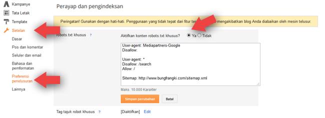 Setting Robots.txt dan Tag Tajuk Robot Khusus yang Aman di Blogger