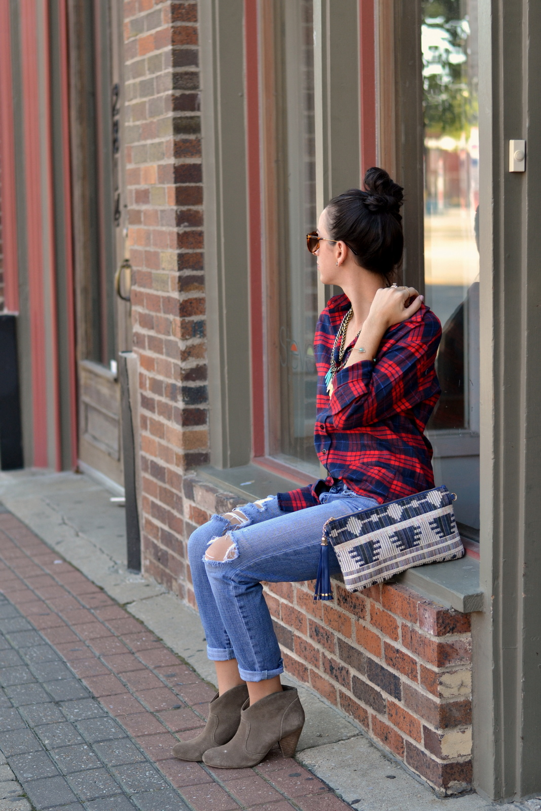 Distressed Denim, American Eagle, Top Knot, Flannel