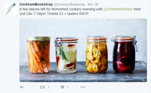 Tweeted talk opportunity from Corsham Bookshop