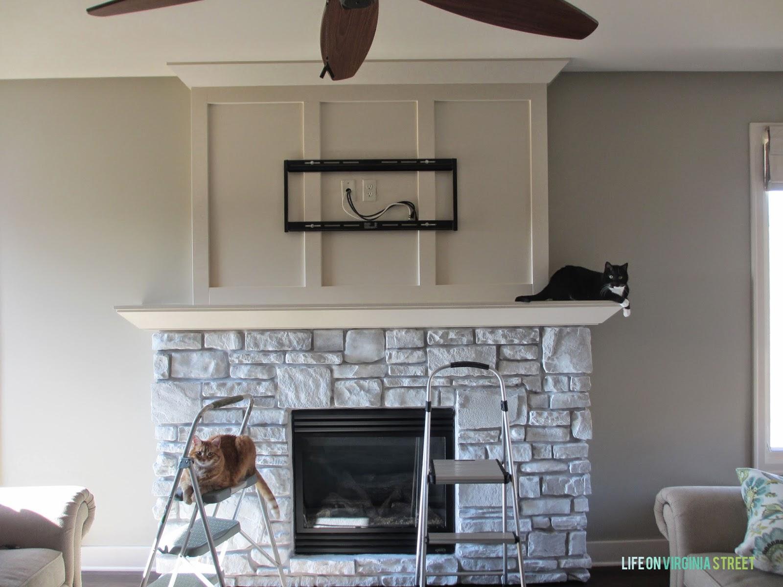 White-Washed Stone Fireplace - Life On Virginia Street
