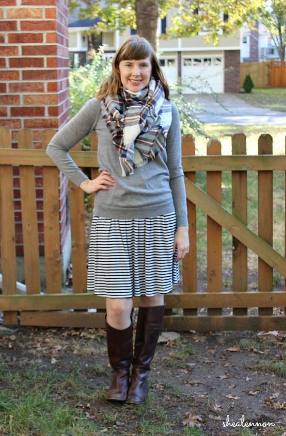 striped skirt with plaid scarf | www.shealennon.com