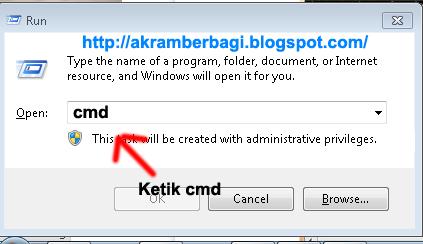 Jika sudah Klik oke / Enter Dan akan tebuka cmd (Command Prompt)