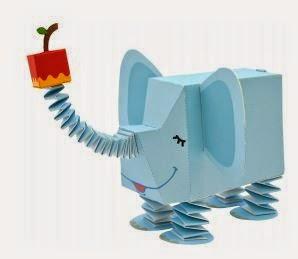 Divertido Elefante 3D para Imprimir Gratis. Juguetes de Papel.