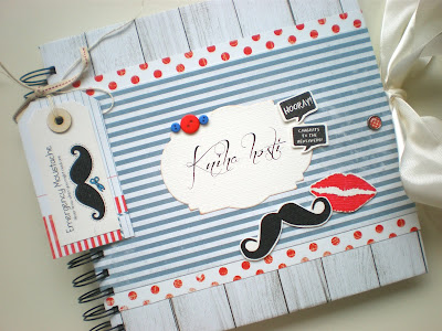 Wedding guest book moustache & lips