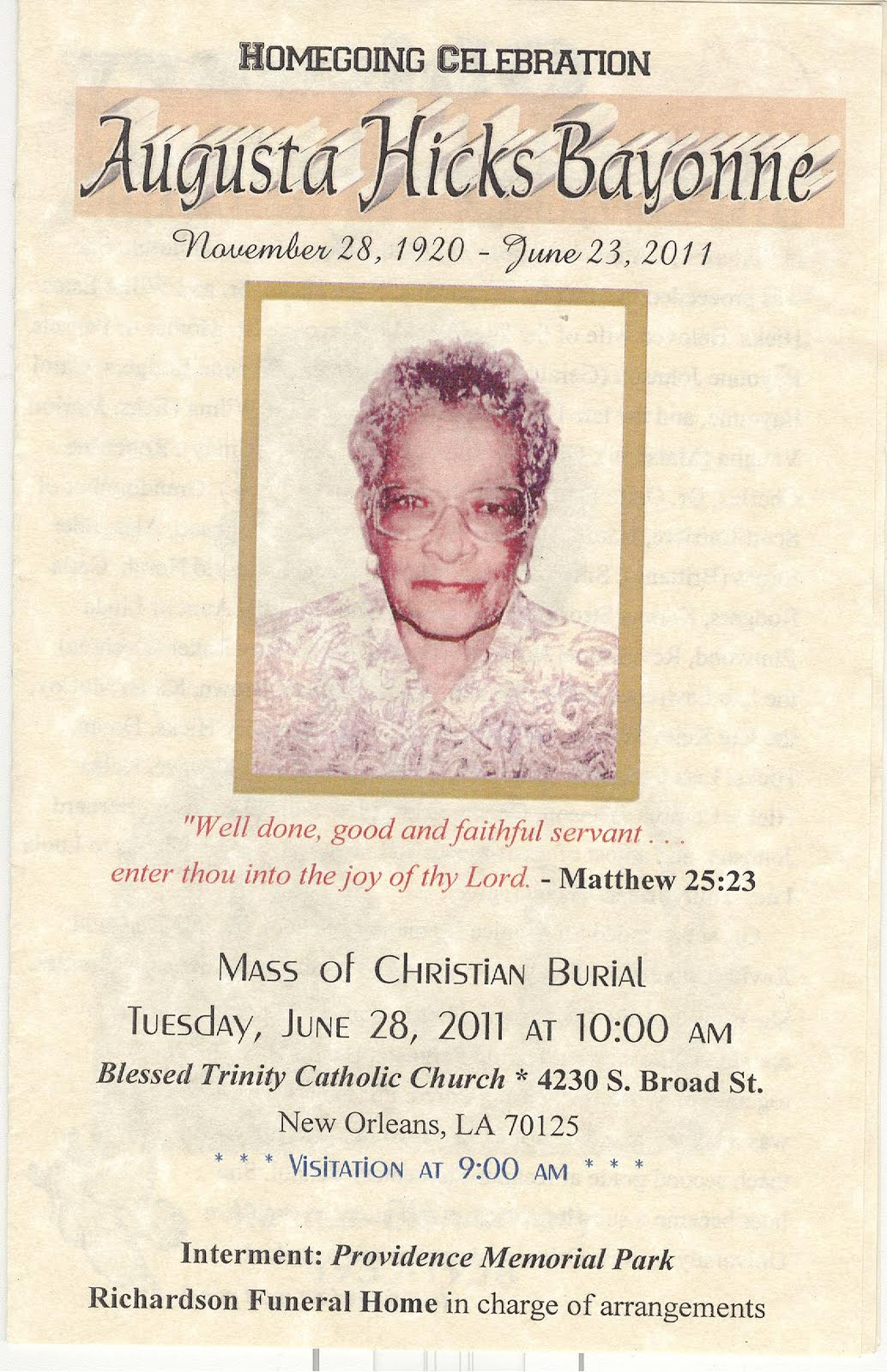 AFRICAN ROOTS Funeral Program for Augusta Hicks Bayonne