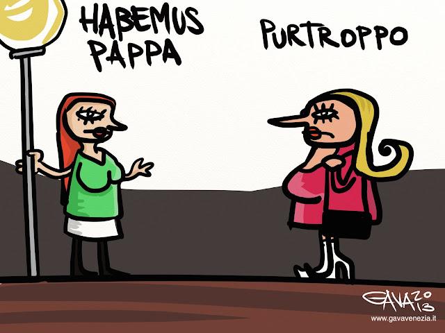 Gava satira vignette caricature umorismo ridere pensare gavavenezia gavagnin marco habemus pappa papa vaticano prostitute lampione mignotte clienti giro verde arancio donne sfruttare