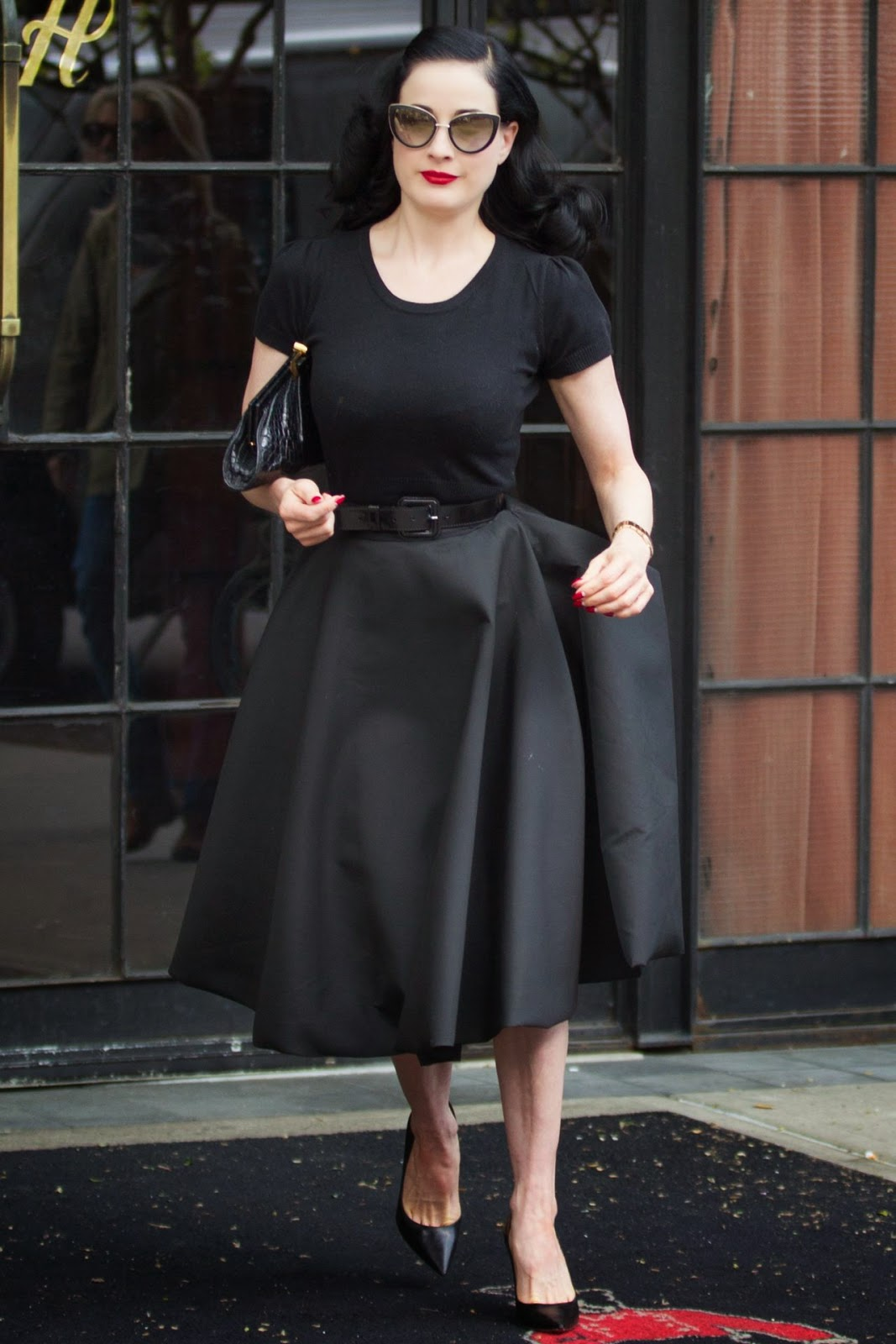 Dita Von Teese In An All Black Look Out And About In Ny