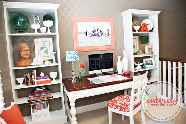 Such a pretty home office! entirelyeventfulday.com #office #diy #desk