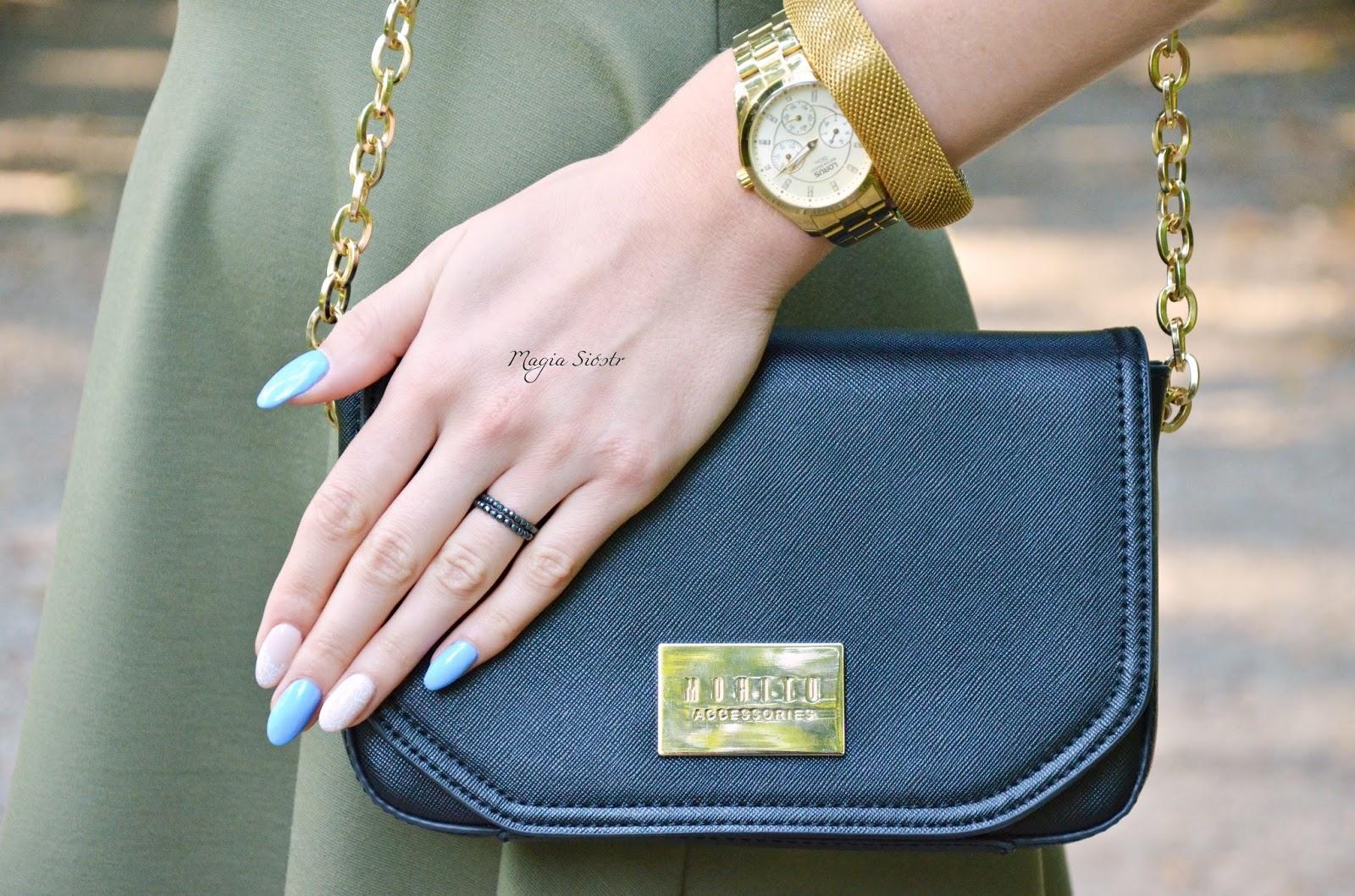 stylizacja paznokci, hybryda, modna torebka, elegancka torebka, torebka na łańcuszku, mała czarna, mohito
