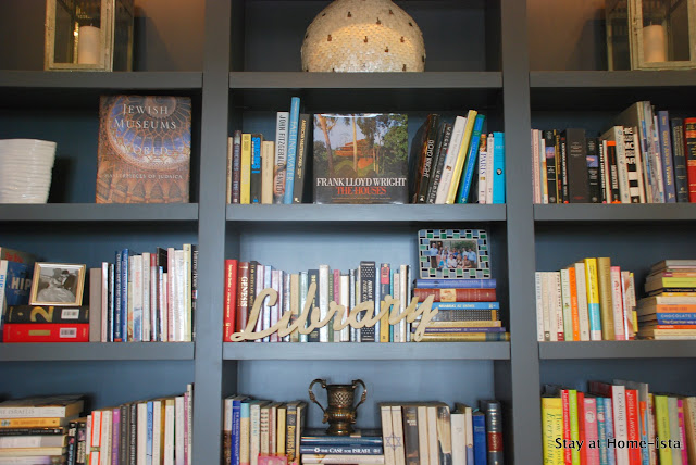 styled library shelves