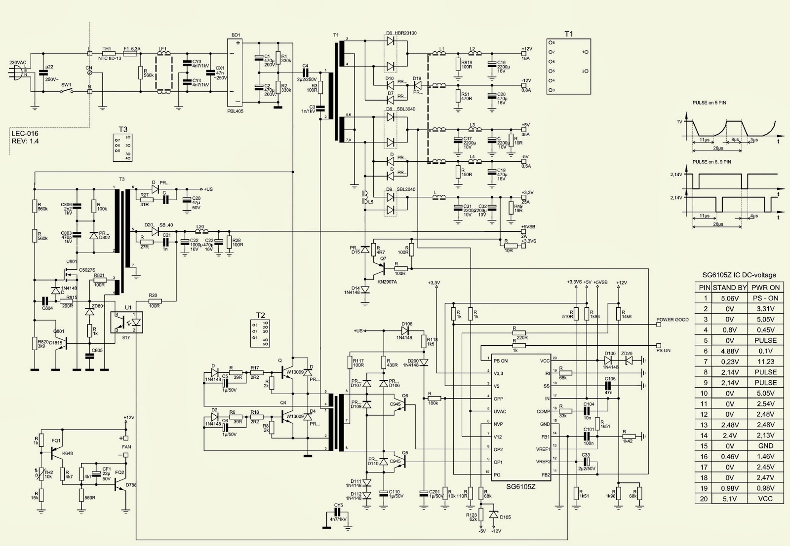 400 WATTS ATX POWER SUPPLY-P4 - DESKTOP COMPUTERS - SCHEMATIC ...