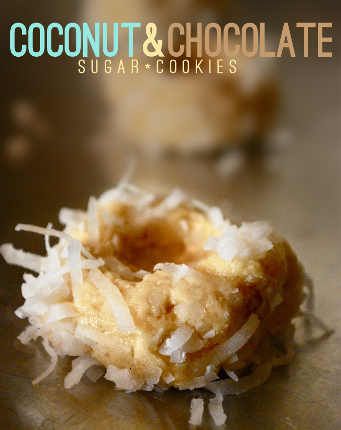 Coconut and chocolate sugar cookies