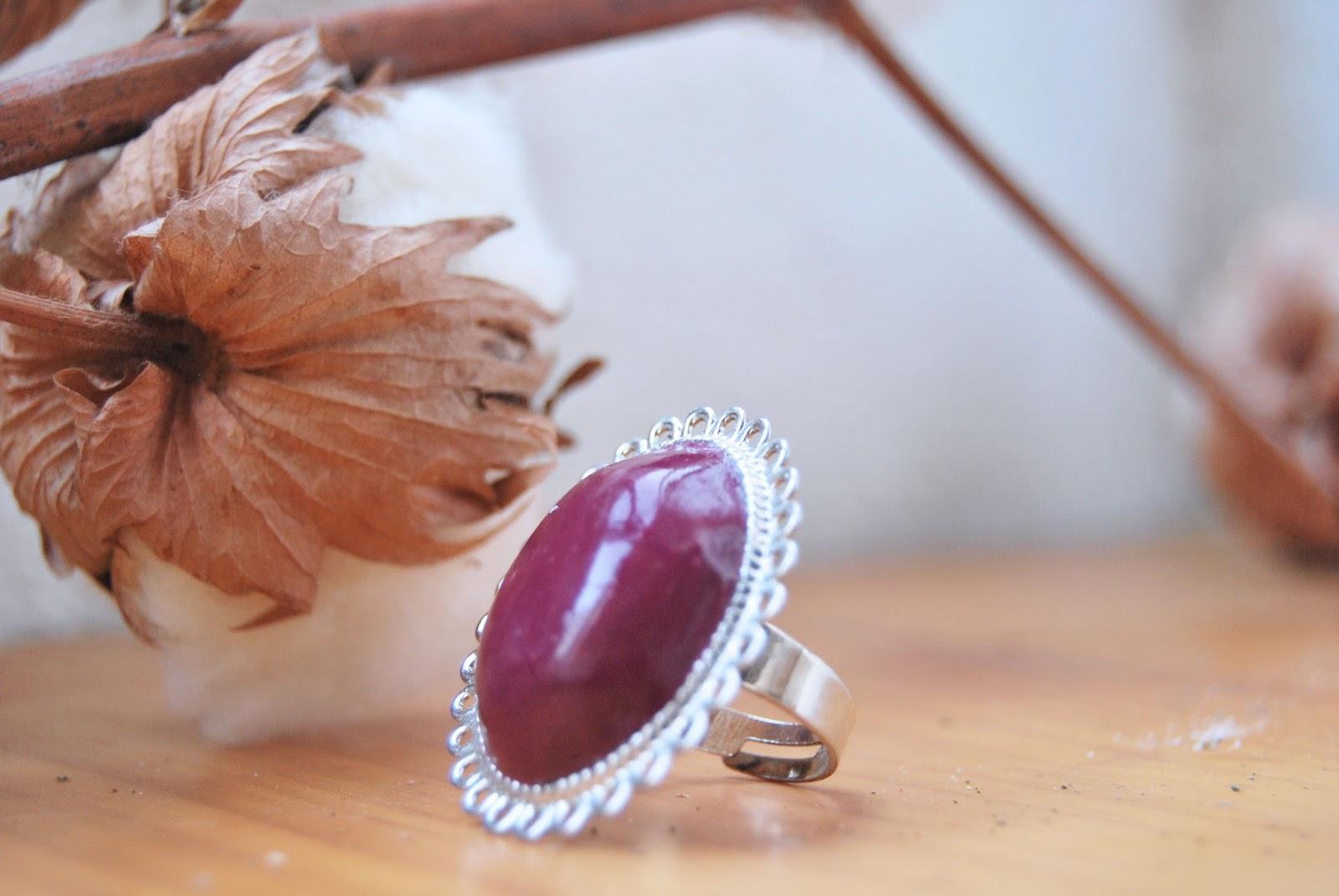anillo de arcilla polimerica berenjena