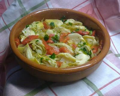 Cazuela de Alcachofas y Pimientos