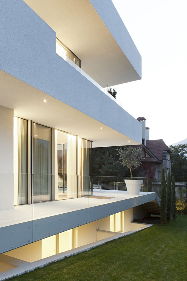 Balcony with glass railing