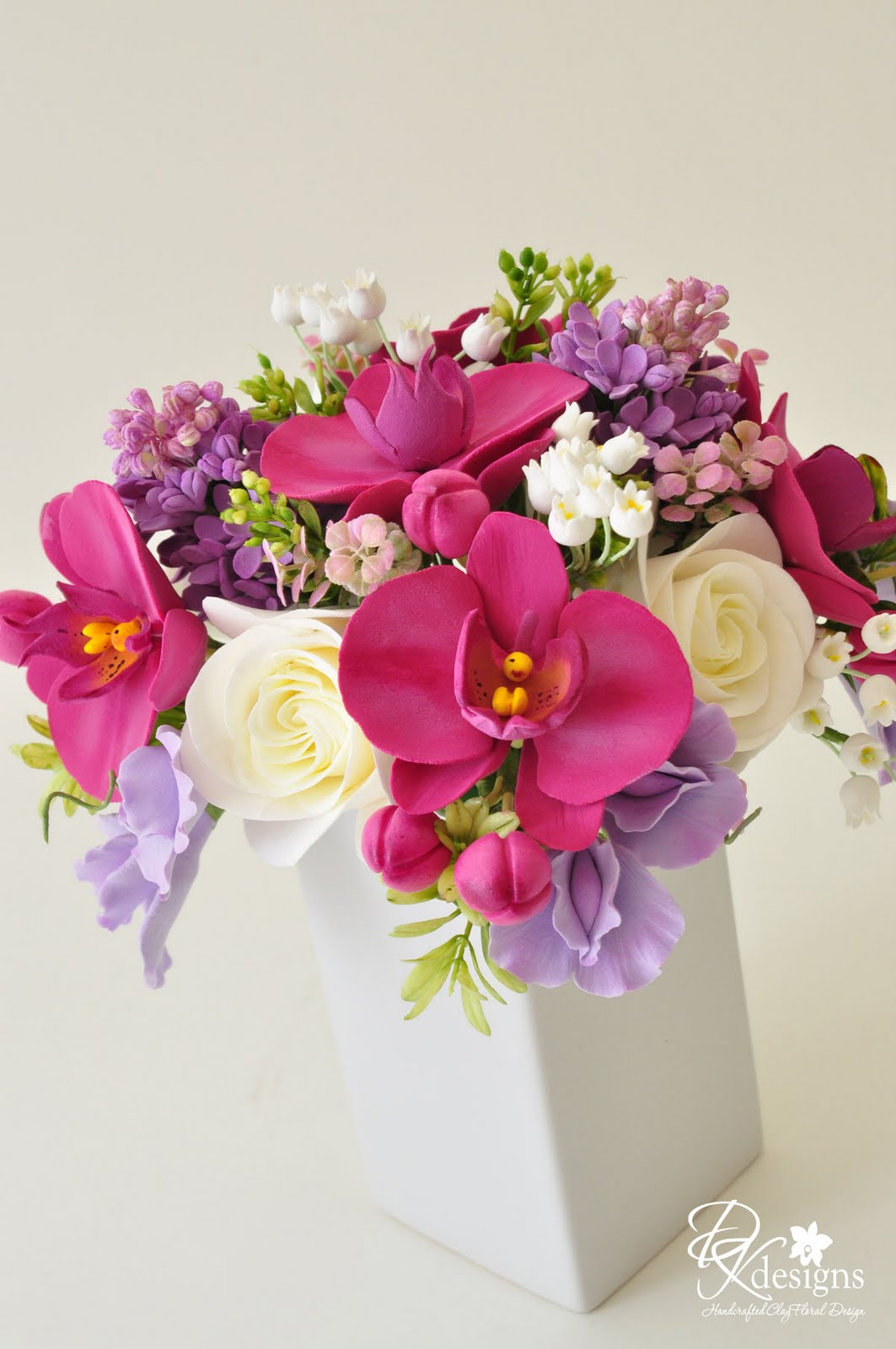 Custom Fl Arrangement Phaleanopsis Orchids Lilac Lily Of The Valley Roses And Sweet Peas