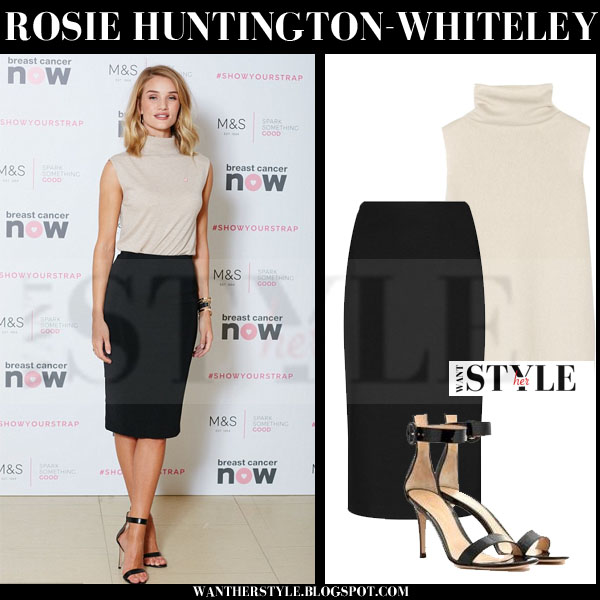 Rosie Huntington-Whiteley in beige high neck the row leona top, black pencil M&S skirt and black ankle strap gianvito rossi portofino sandals what she wore red carpet event