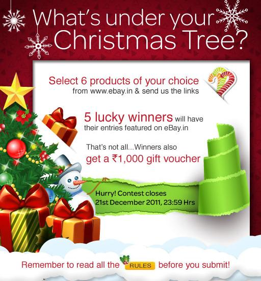 enter the ebay india christmas contest win 1 of 5 gift vouchers worth rs1000 where you have to search christmas items on ebayin and post urls of those 5 - Ebay Christmas