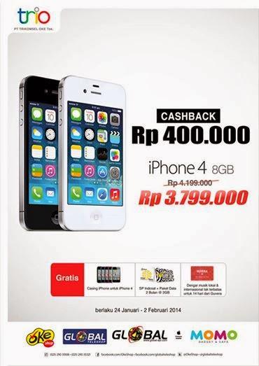 iPhone 4 8 GB Cashback Rp 400.000