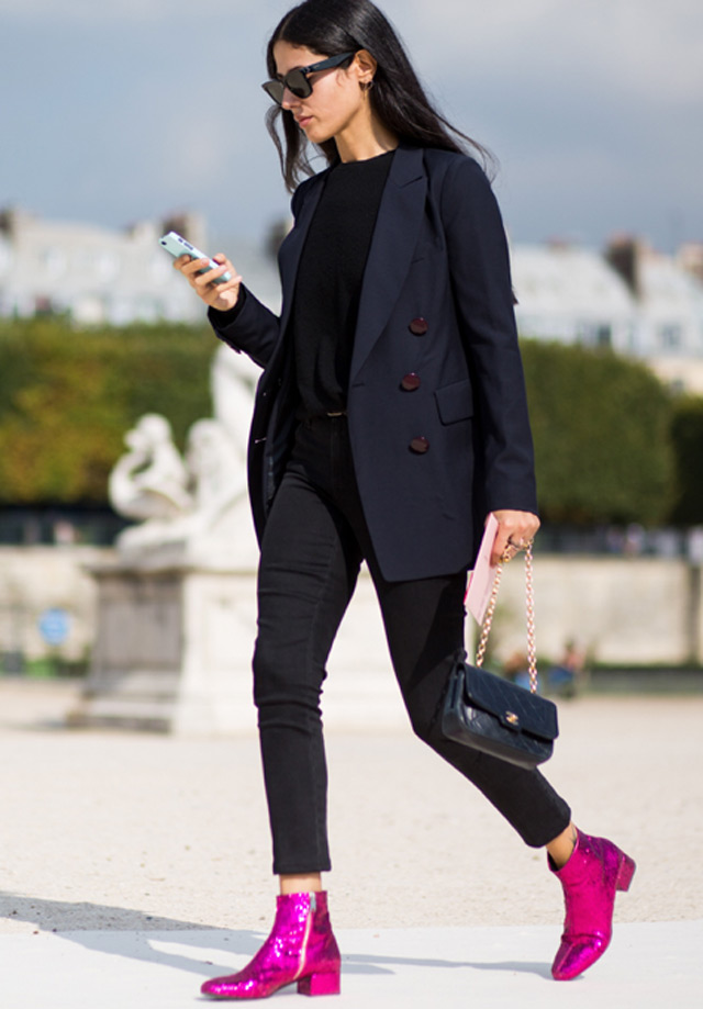 Saint Laurent glitter finished leather ankle boots, street style fashion, ankle boots with navy blazer