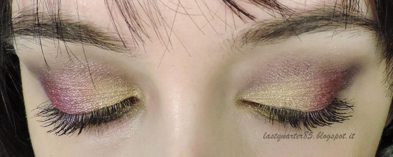 Make Up Festivo sui toni del Borgogna e Oro.
