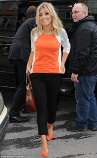 Mollie King, The Saturday's, French Connection, Knit, Jumper, Orange, White, Grey