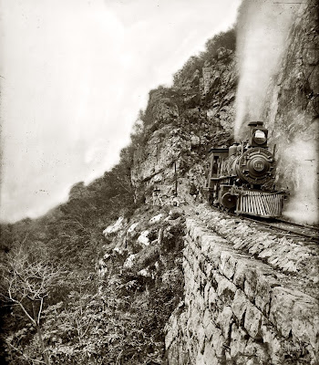 Locomotora en el canyon cañón del río Tamasopo locomotive William Henry Jackson San Luis Potosí Mexico 1890
