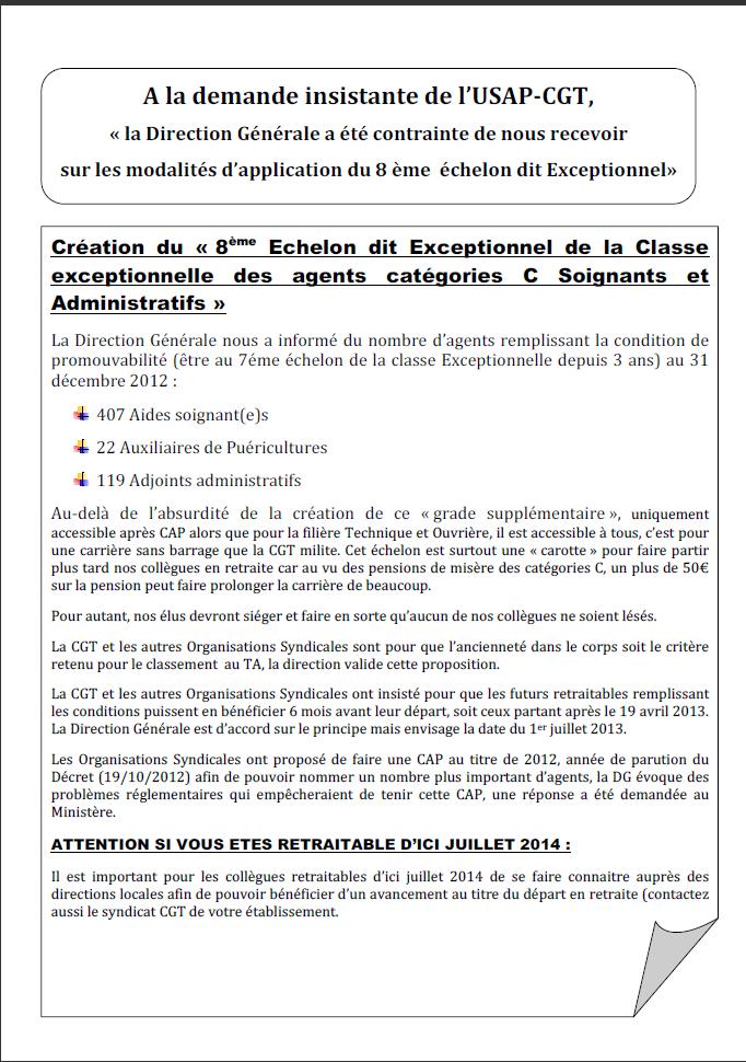Usap cgt tract as classe exceptionnelle for Publication exceptionnelle
