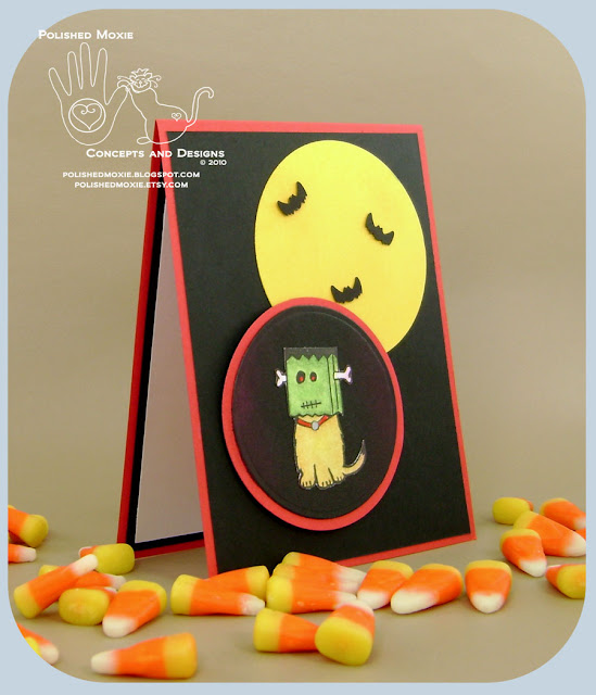 Image of the front of my handmade Frankenstein Dog Halloween card sitting at a right angle