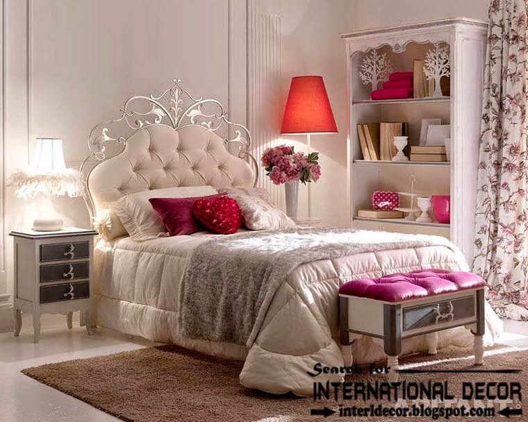 luxury Italian wrought iron bed with tufted headboard 2015 for guest bedroom