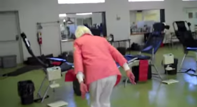 Screenshot form the video where this grandma tries to do a backflip