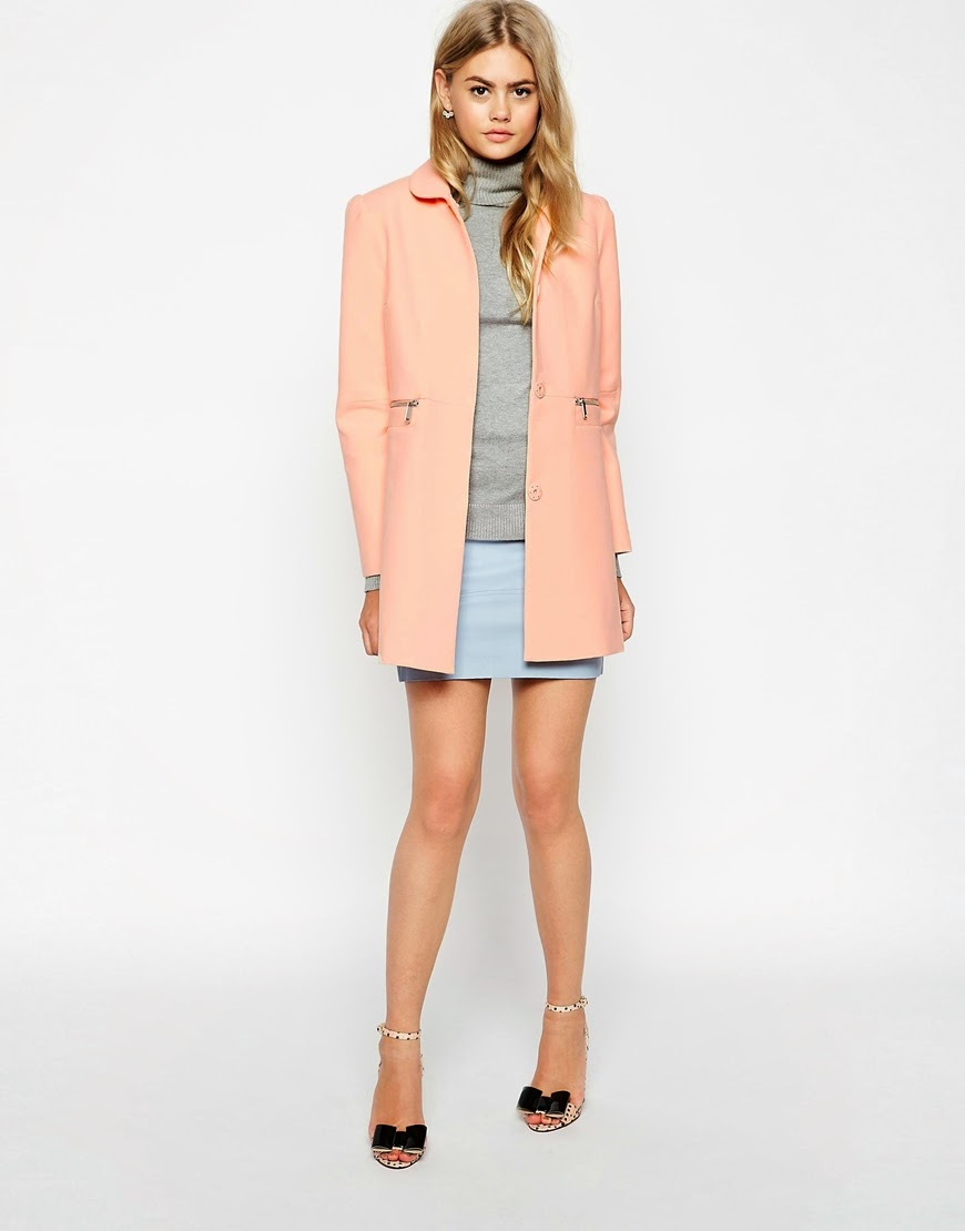peach coat, peter pan coat,