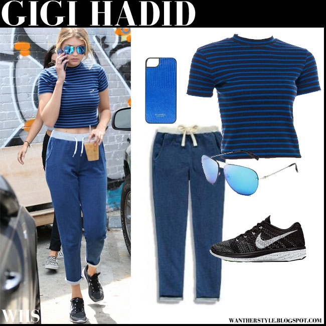 Gigi Hadid in blue stripe crop top, blue sweats and black Nike Flyknit lunar 3 sneakers what she wore