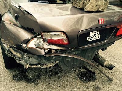 Adik Pomen 'Lenjan' Kereta Customer Honda Civic Sehingga Accident