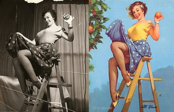 pin up paintings, real women behind pin up paintings-1