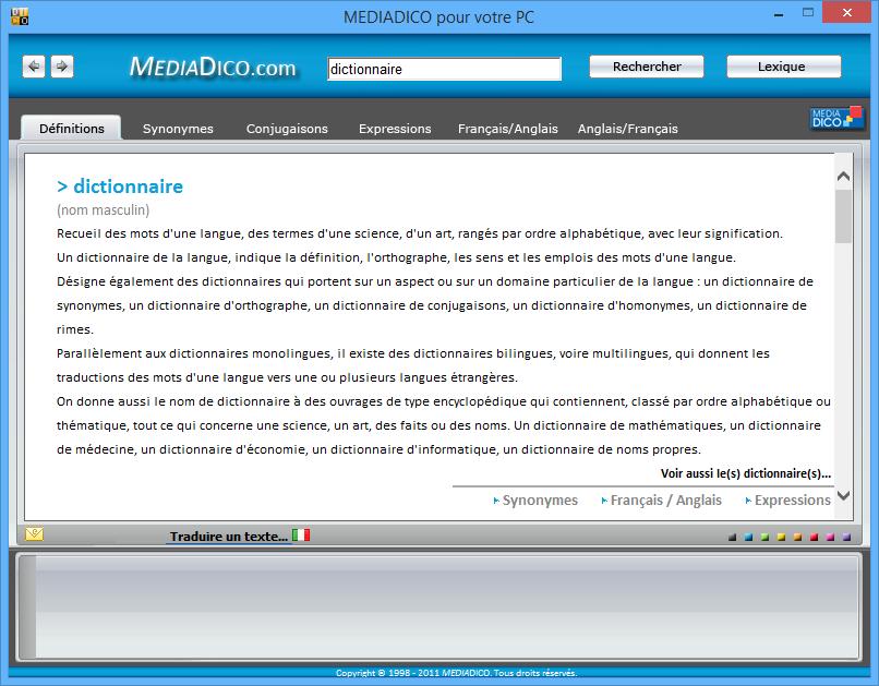 Télécharger Logiciel Dictionnaire MEDIADICO  Pour Votre PC