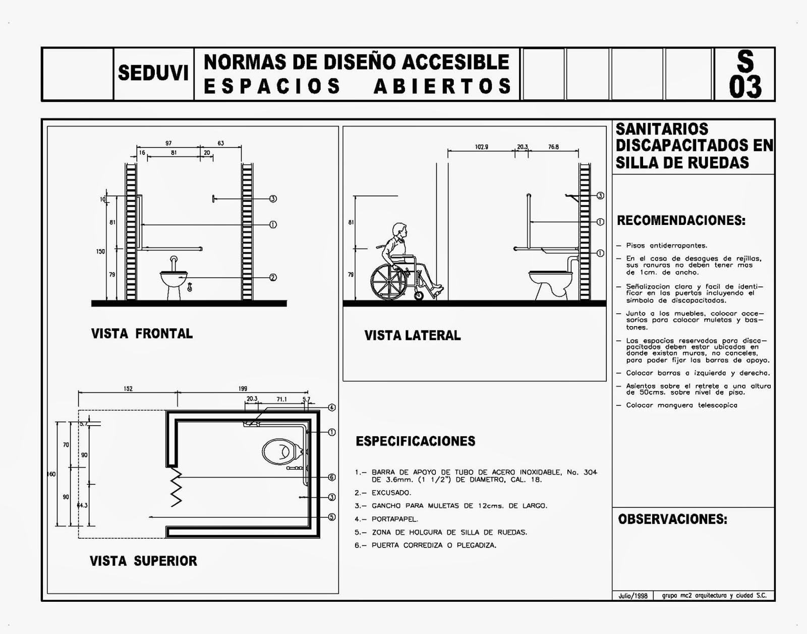 Diseno Baño Discapacitados:Todo para el Arqui: Normas diseño discapacitados (5) SEDUVI – Autocad
