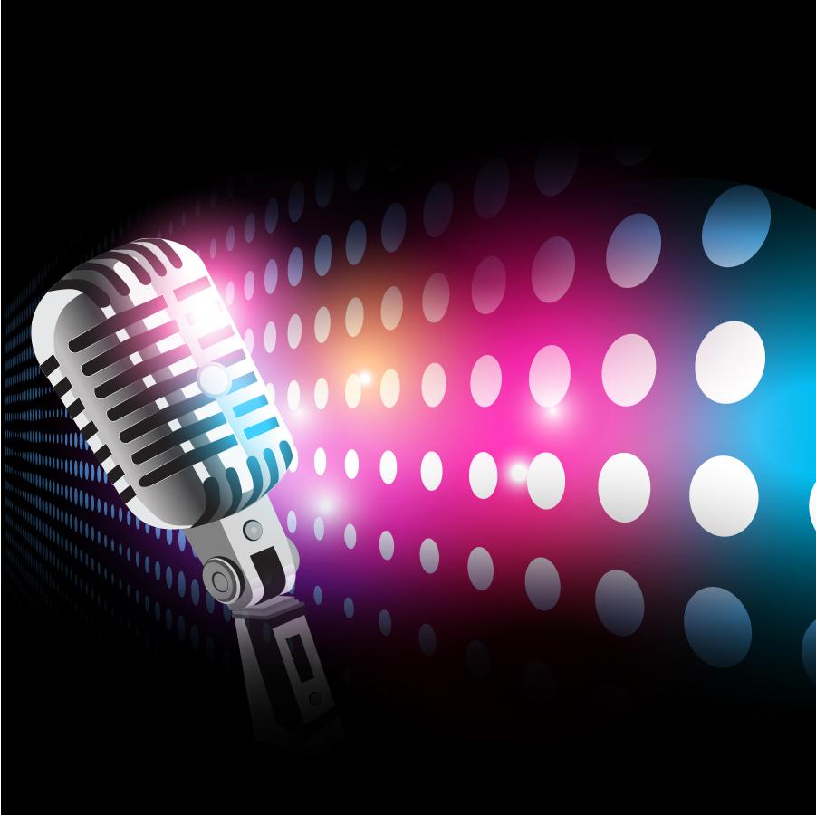光が当たったマイクの背景 Halo microphone vector イラスト素材