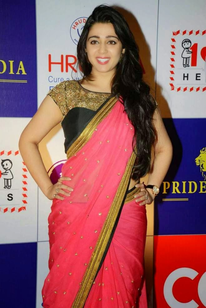 Charmy Kaur Latest Low Waist Saree Photos