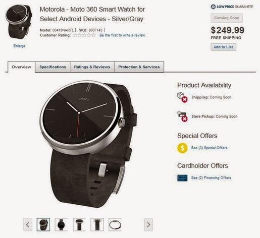 Moto 360 rao bán trên Best Buy