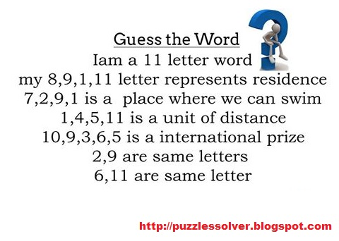 I Am A 11 Letter Word My 89111 Letters Represent The Residence 7295 Is Place Where We Can Swim 14511 Unit Of Distance