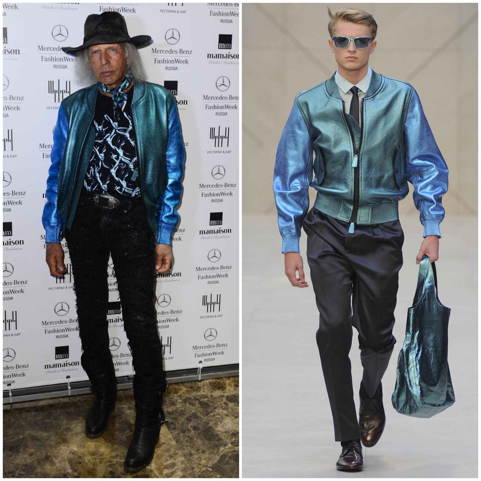 00O00 Menswear Blog james Goldstein in Burberry Prorsum Spring Summer 2013 metallic leather jacket - Closing Party Mercedes-Benz Fashion Week Russia Fall/Winter 2013/2014 at Mamaison All-Suites Spa Hotel on April 2, 2013 in Moscow, Russia