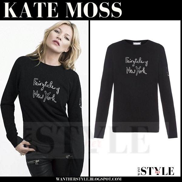 Kate Moss in black Fairytale of New York christmas sweatshirt bell freud campaign