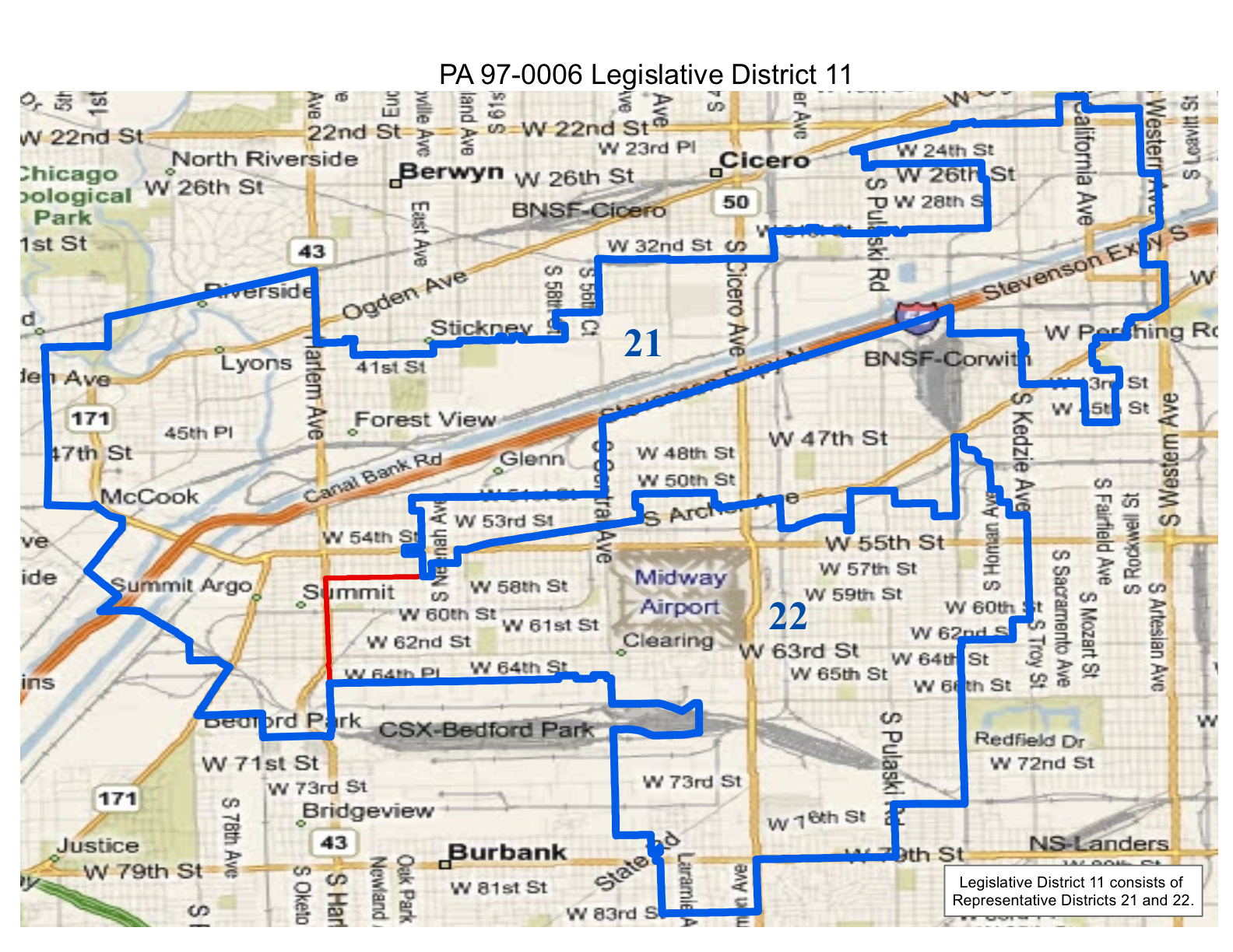 map of 2012 illinois legislative district 11 which includes state senate district 11 and state representative districts 21 and 22