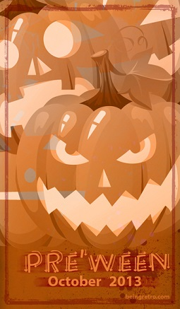 Pre'Ween October 2013 logo by beingretro.com